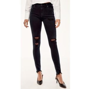 Agolde Distressed High Rise Raw Hem Skinny Jeans